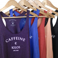 CAFFEINE & KILOS ARCH LOGO WOMENS RACERBACK PLUM