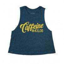 CAFFEINE & KILOS TEAL/GOLD TANKS