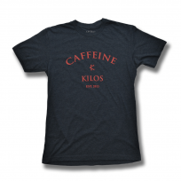 CAFFEINE & KILOS blue with red script logo