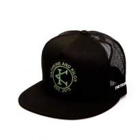 CAFFEINE & KILOS Black snapback beach bum trucker cap